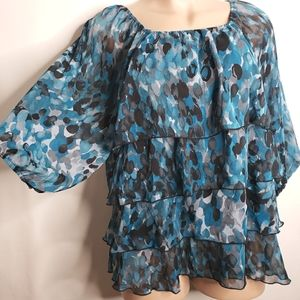 Pat Rego Top 20/22W Layered Sheer Lined Colorful